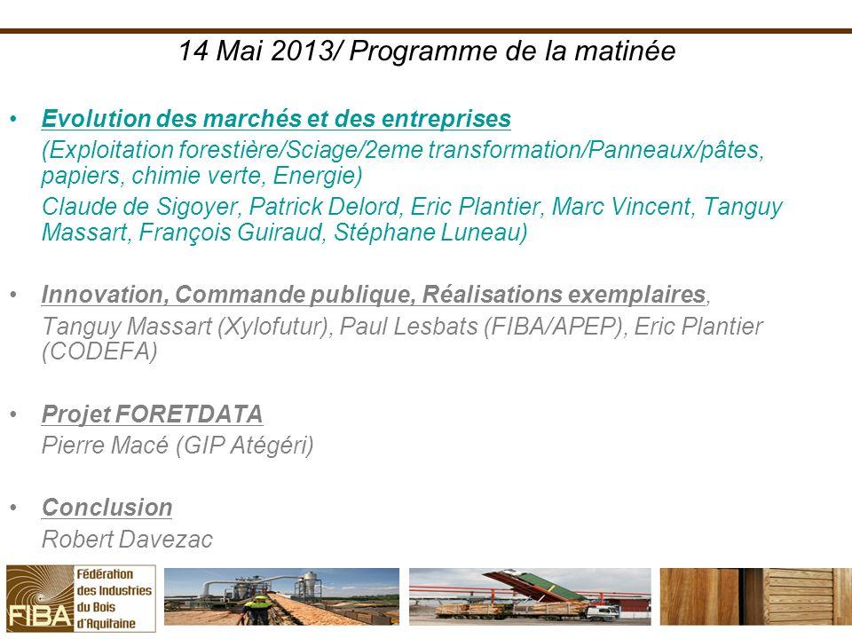 14 Mai 2013/ Programme de la matinée
