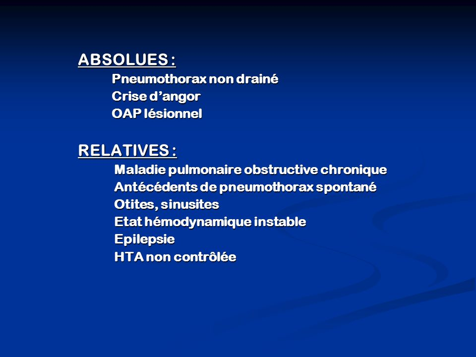 ABSOLUES : RELATIVES : Pneumothorax non drainé Crise d'angor