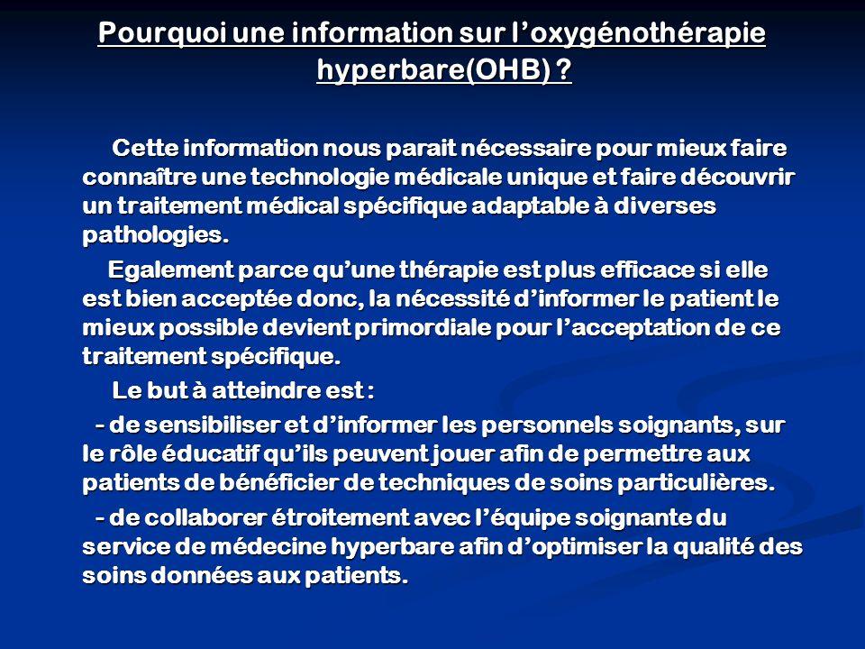Pourquoi une information sur l'oxygénothérapie hyperbare(OHB)