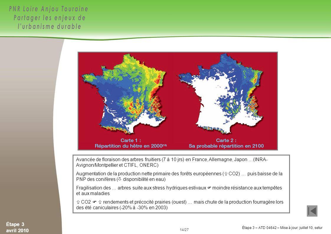 Avancée de floraison des arbres fruitiers (7 à 10 jrs) en France, Allemagne, Japon …(INRA-Avignon/Montpellier et CTIFL, ONERC)
