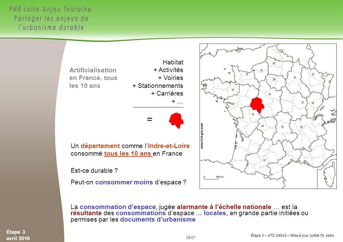 = Habitat + Activités + Voiries + Stationnements + Carrières + …