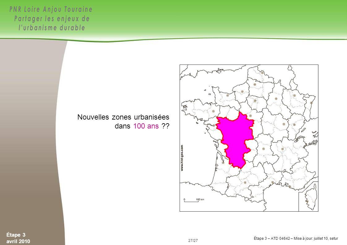 Nouvelles zones urbanisées dans 100 ans