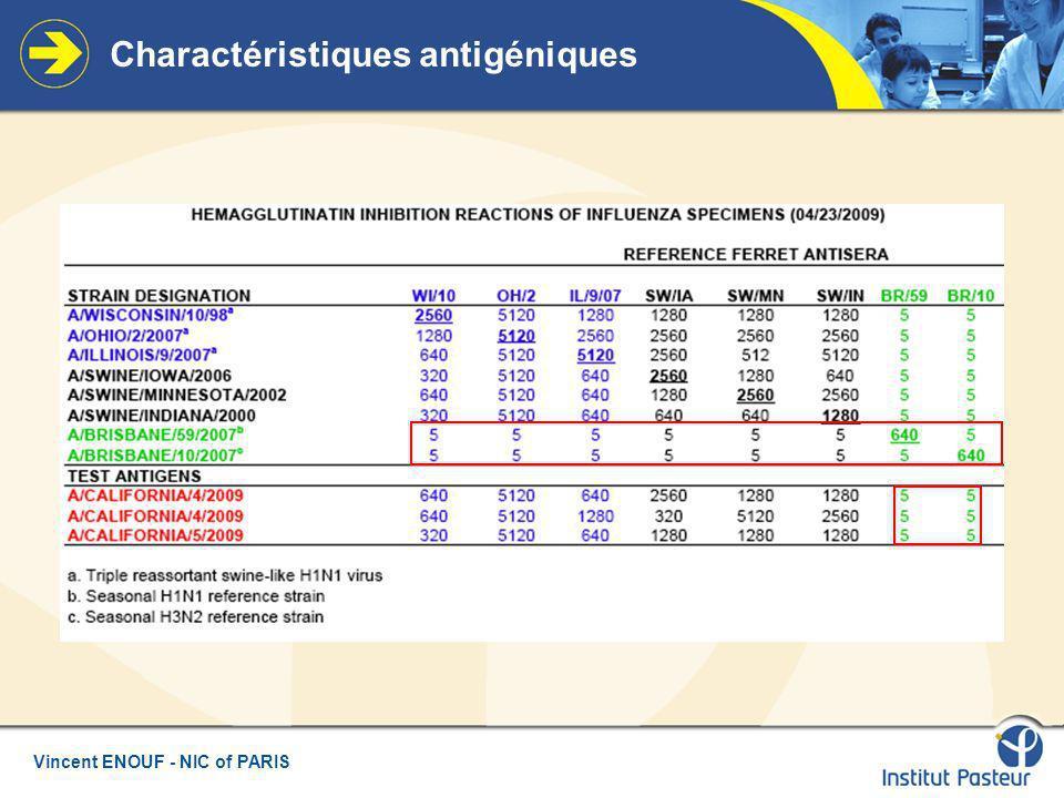 Charactéristiques antigéniques
