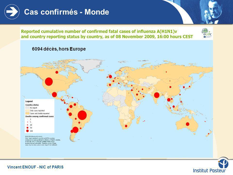 Cas confirmés - Monde 6094 décès, hors Europe