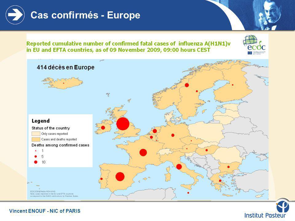Cas confirmés - Europe 414 décès en Europe