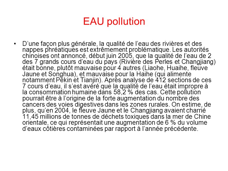 EAU pollution