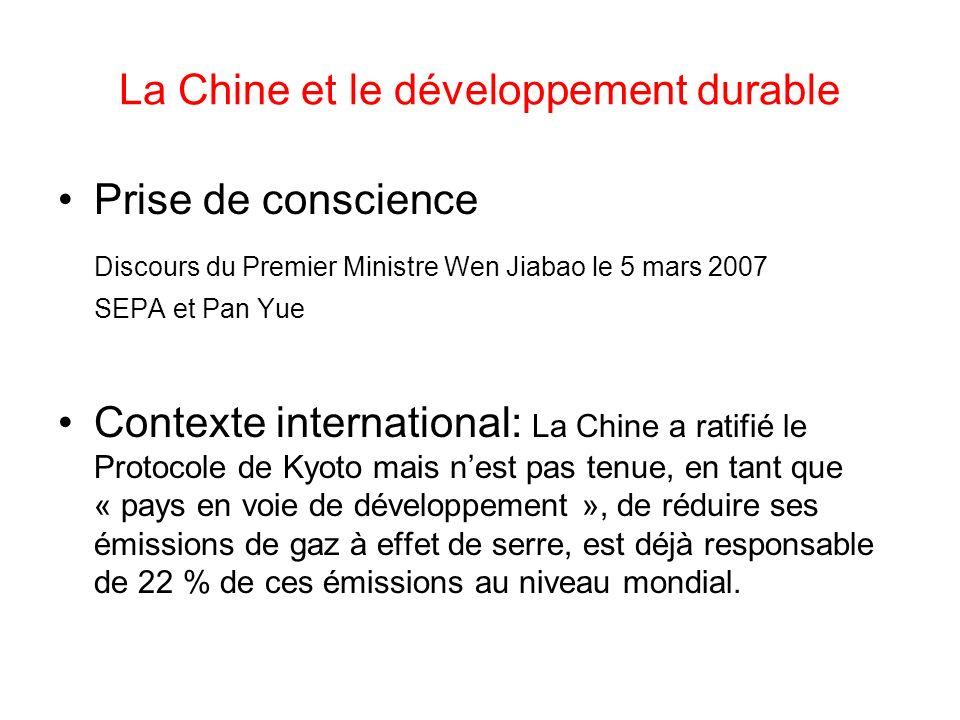 La Chine et le développement durable