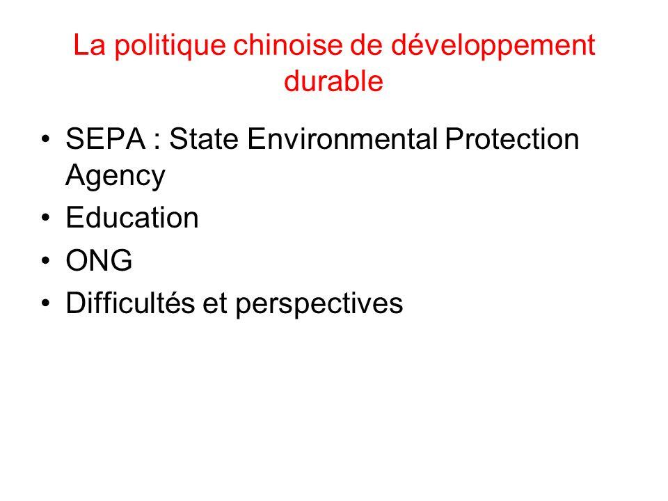 La politique chinoise de développement durable
