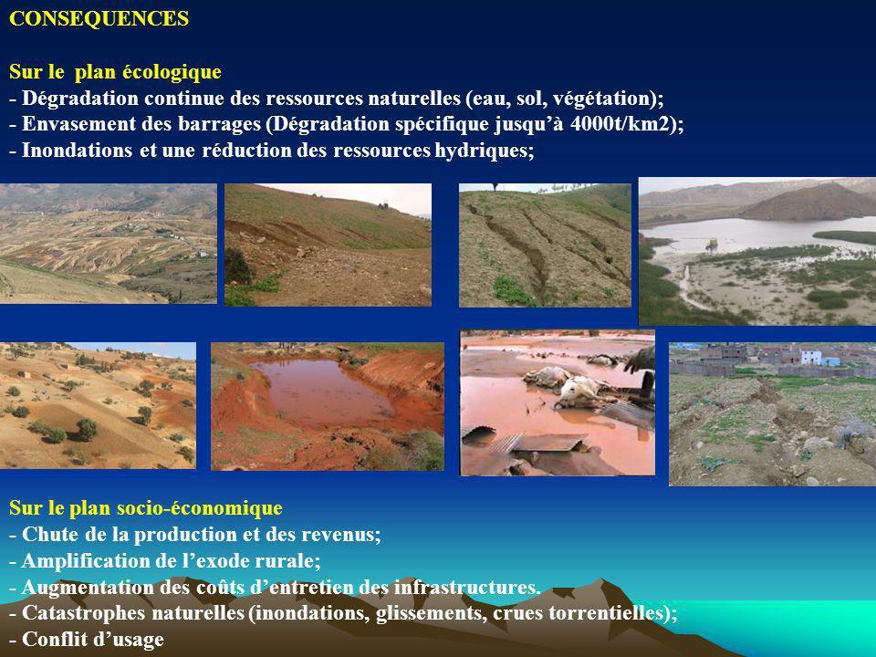 CONSEQUENCES Sur le plan écologique. - Dégradation continue des ressources naturelles (eau, sol, végétation);