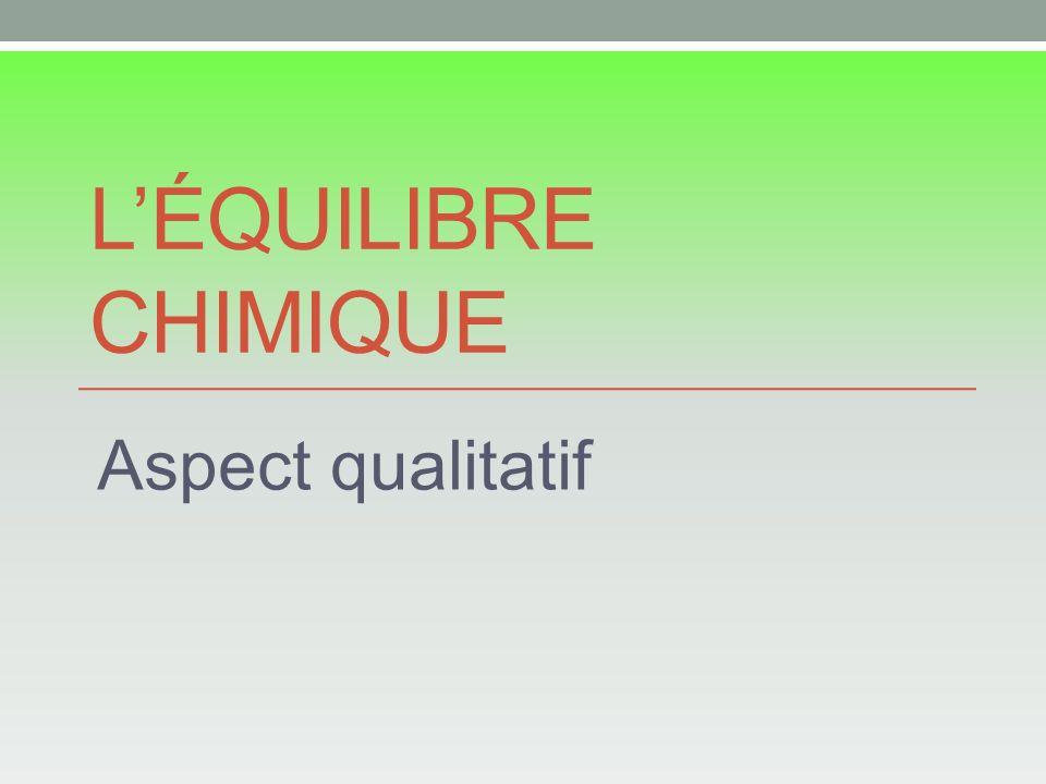 L'Équilibre chimique Aspect qualitatif