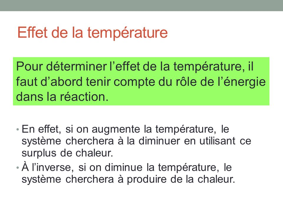 Effet de la température