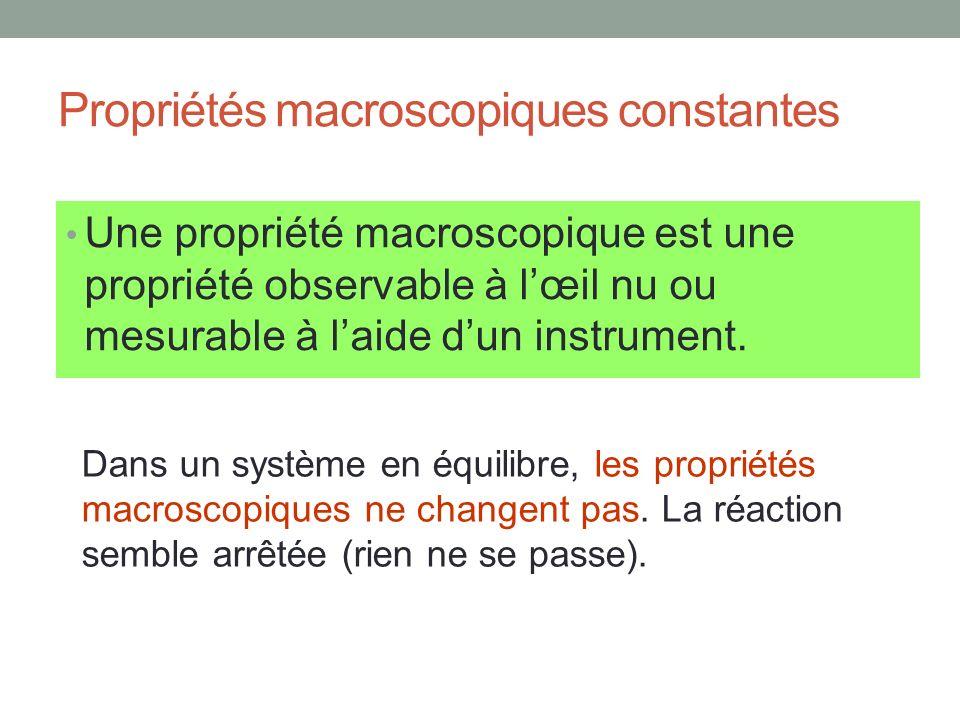 Propriétés macroscopiques constantes