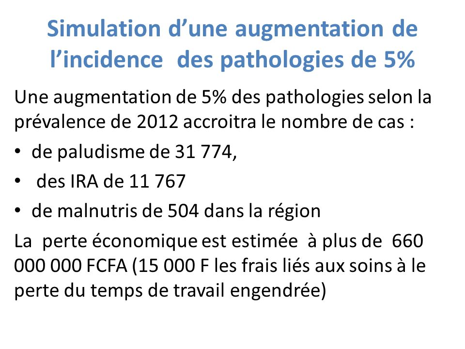 Simulation d'une augmentation de l'incidence des pathologies de 5%