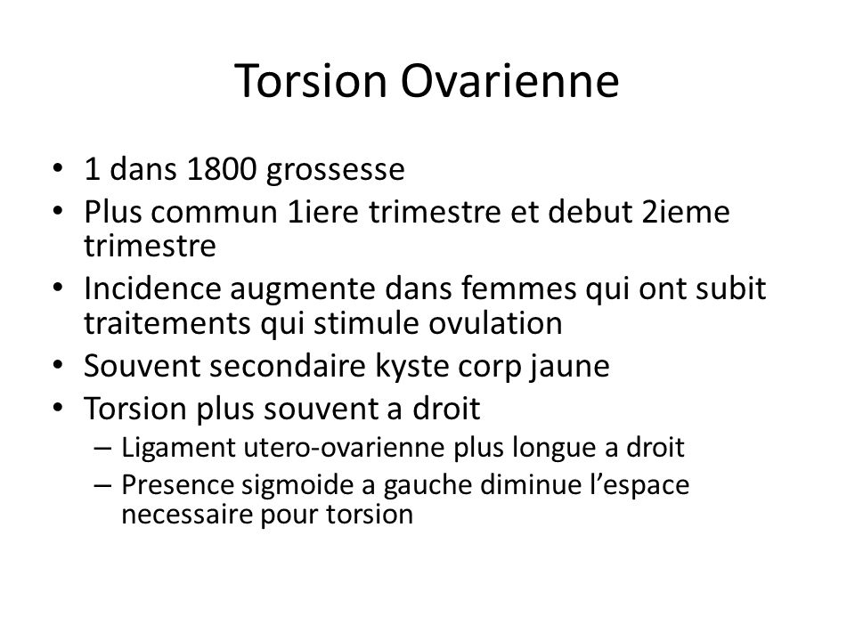 Torsion Ovarienne 1 dans 1800 grossesse