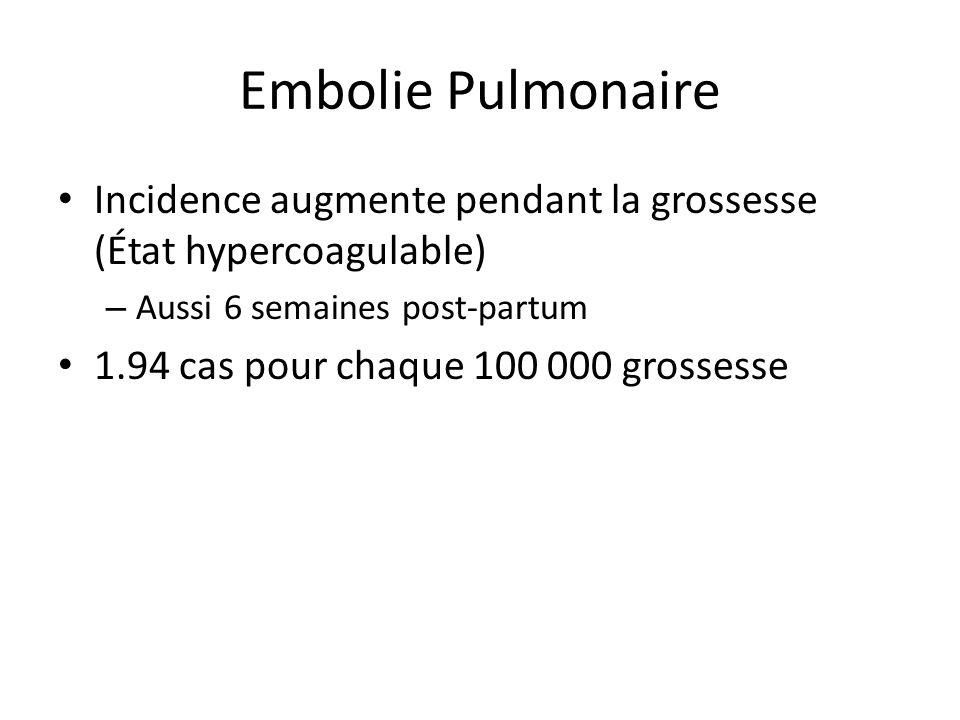 Embolie Pulmonaire Incidence augmente pendant la grossesse (État hypercoagulable) Aussi 6 semaines post-partum.