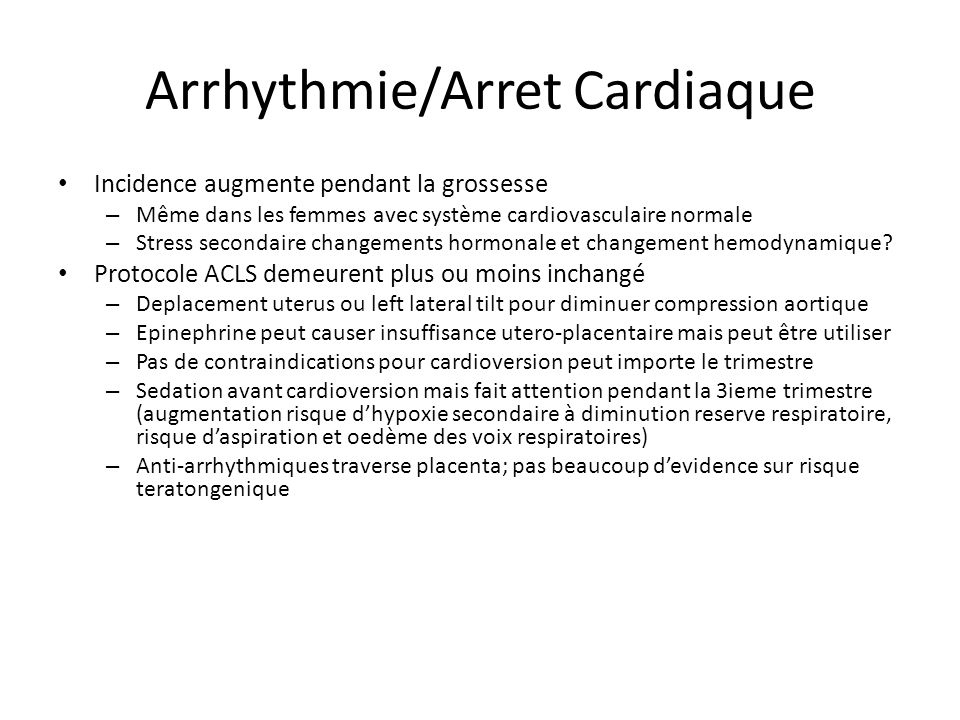 Arrhythmie/Arret Cardiaque