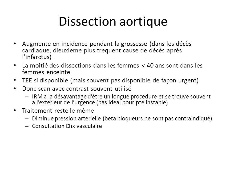 Dissection aortique Augmente en incidence pendant la grossesse (dans les décès cardiaque, dieuxieme plus frequent cause de décès après l'infarctus)