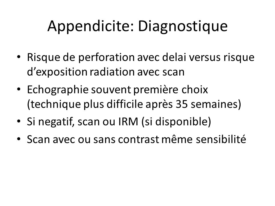 Appendicite: Diagnostique