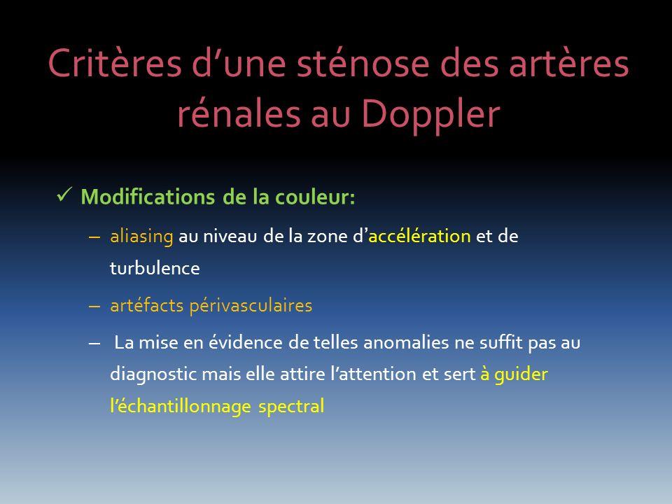 Critères d'une sténose des artères rénales au Doppler