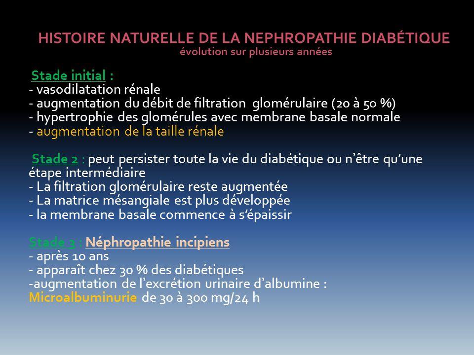 HISTOIRE NATURELLE DE LA NEPHROPATHIE DIABÉTIQUE