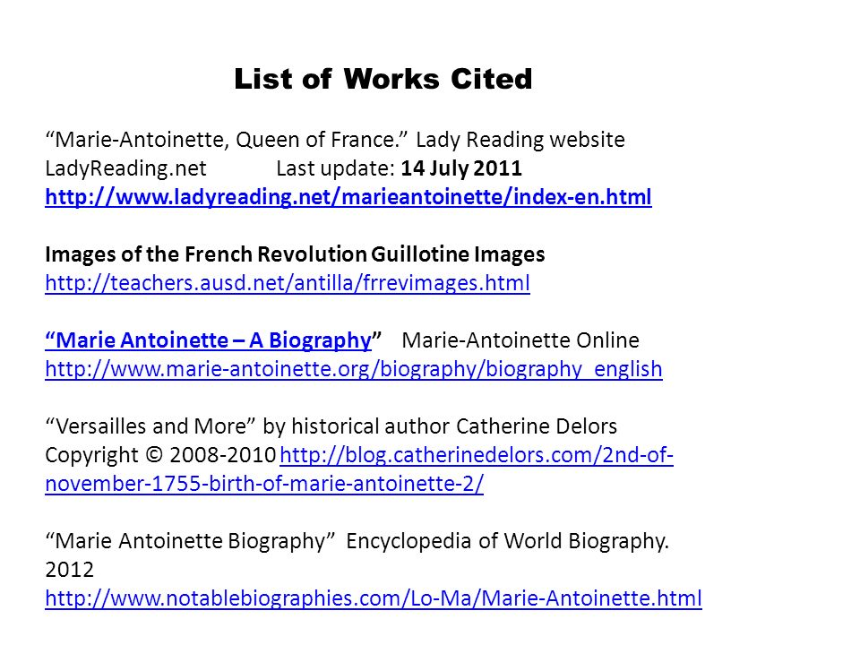 List of Works Cited