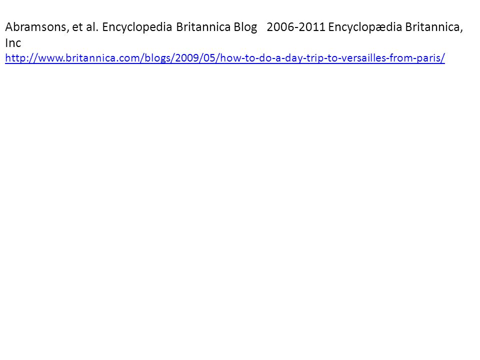 Abramsons, et al. Encyclopedia Britannica Blog 2006-2011 Encyclopædia Britannica, Inc