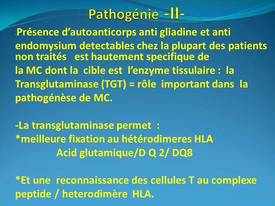 Pathogénie -II- -Présence d'autoanticorps anti gliadine et anti.
