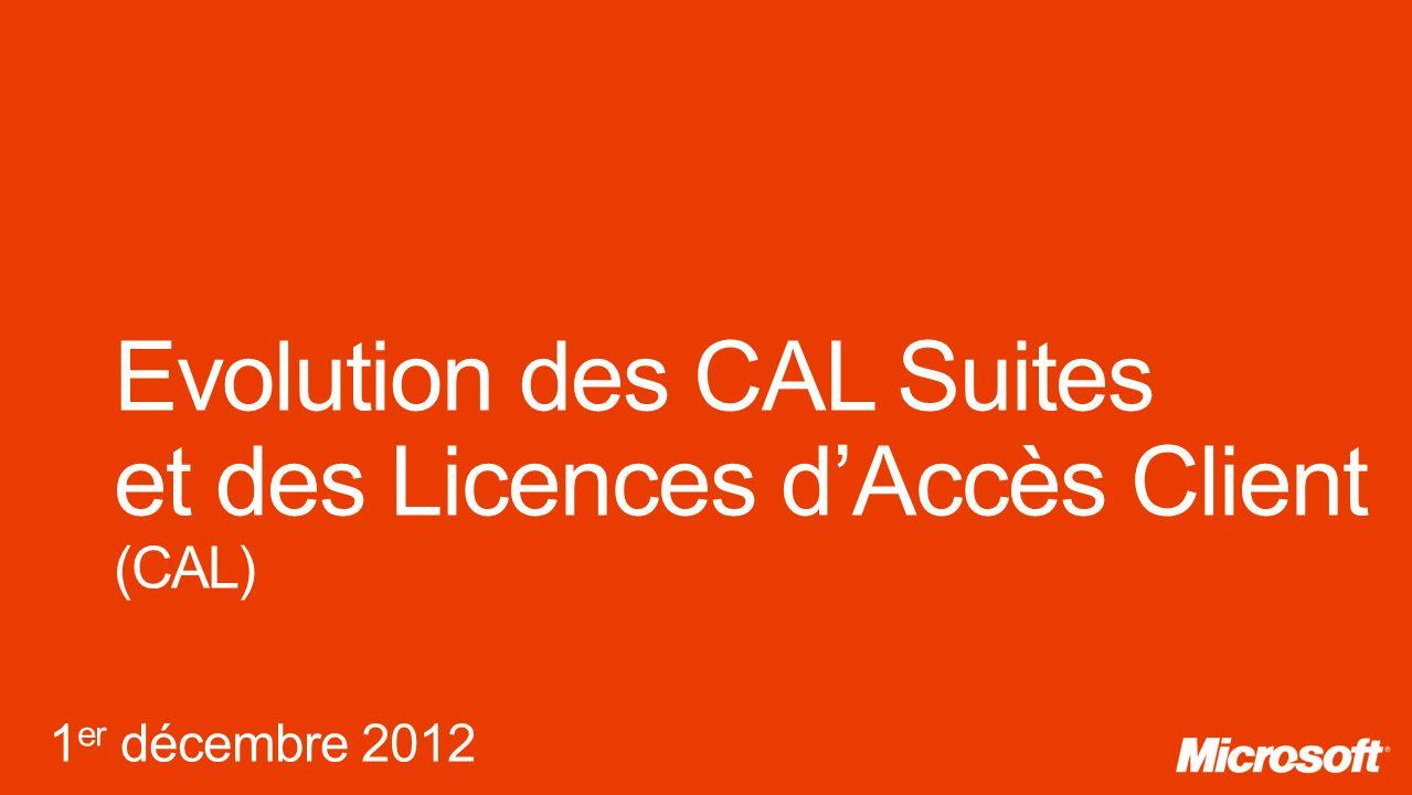 Evolution des CAL Suites et des Licences d'Accès Client (CAL)