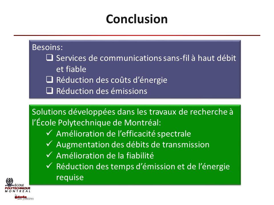 Conclusion Besoins: Services de communications sans-fil à haut débit et fiable. Réduction des coûts d'énergie.