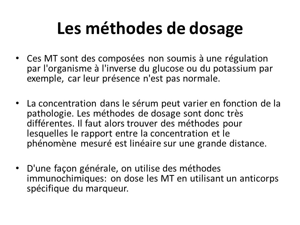Les méthodes de dosage