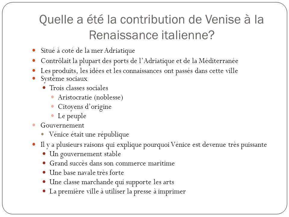 Quelle a été la contribution de Venise à la Renaissance italienne