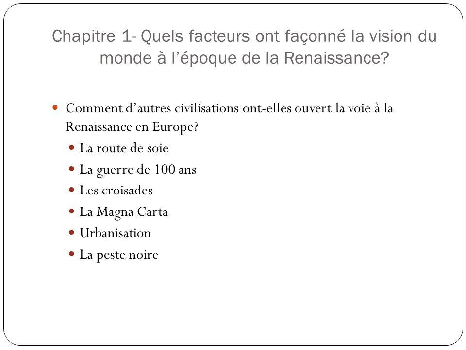 Chapitre 1- Quels facteurs ont façonné la vision du monde à l'époque de la Renaissance
