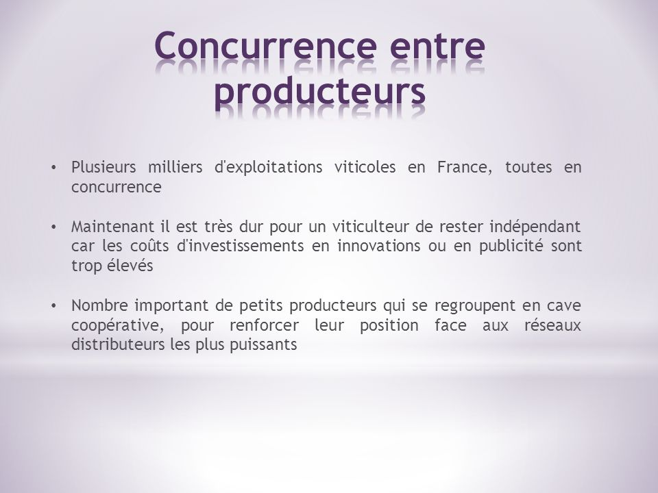 Concurrence entre producteurs