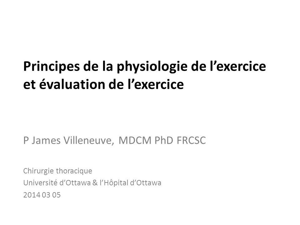 Principes de la physiologie de l'exercice et évaluation de l'exercice