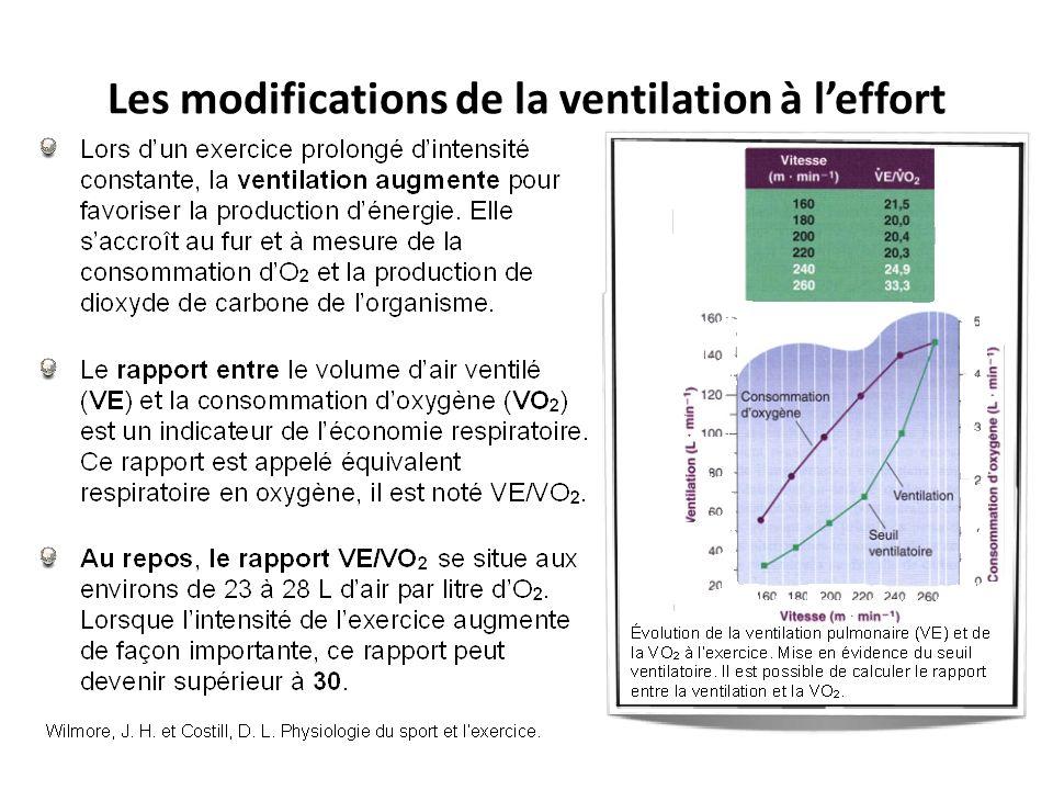 Les modifications de la ventilation à l'effort