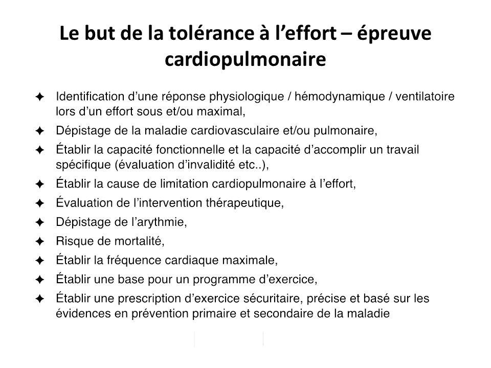 Le but de la tolérance à l'effort – épreuve cardiopulmonaire