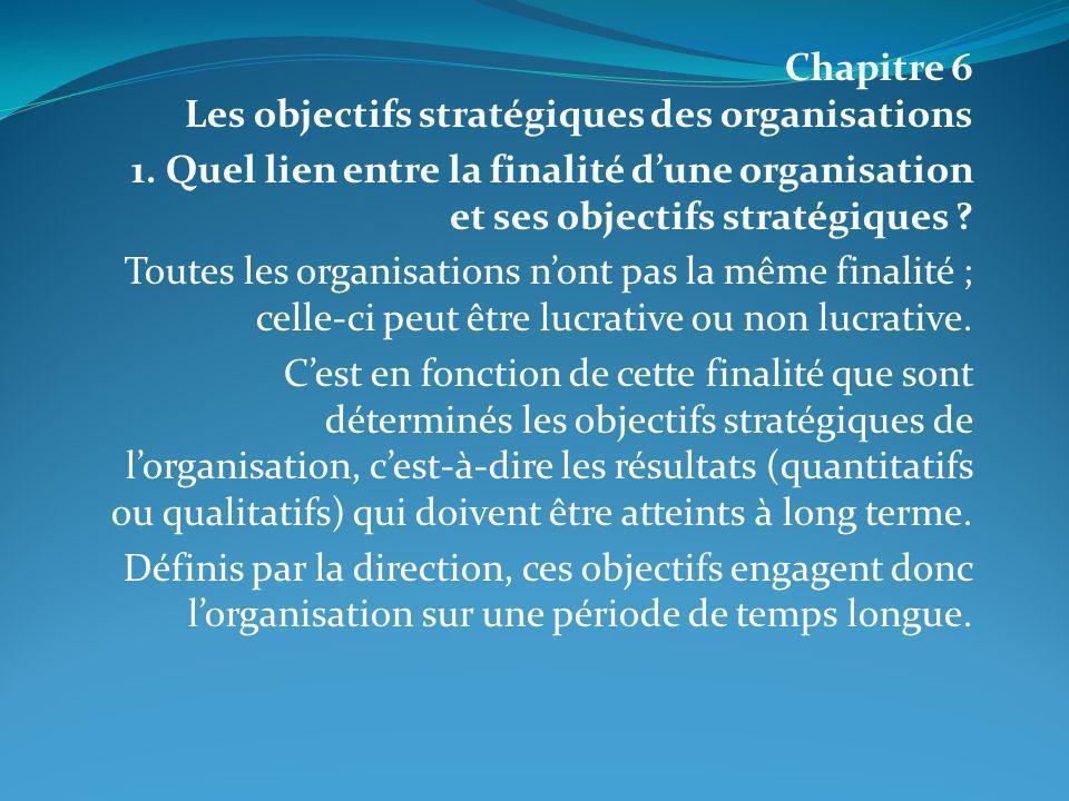 Chapitre 6 Les objectifs stratégiques des organisations
