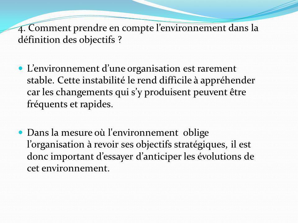 4. Comment prendre en compte l'environnement dans la définition des objectifs