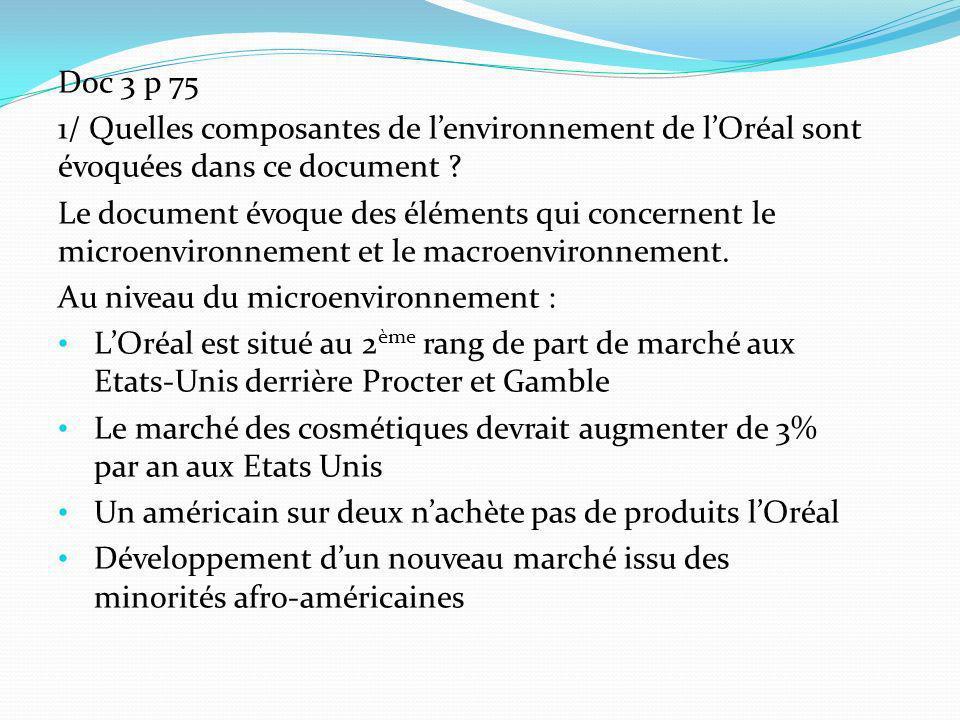 Doc 3 p 75 1/ Quelles composantes de l'environnement de l'Oréal sont évoquées dans ce document