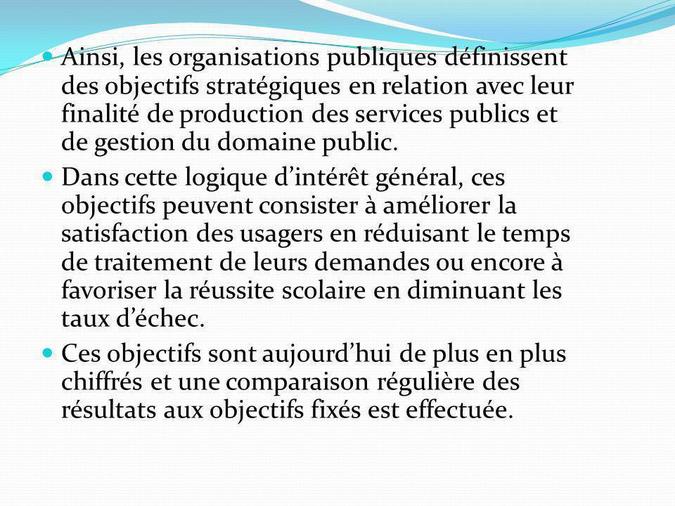 Ainsi, les organisations publiques définissent des objectifs stratégiques en relation avec leur finalité de production des services publics et de gestion du domaine public.