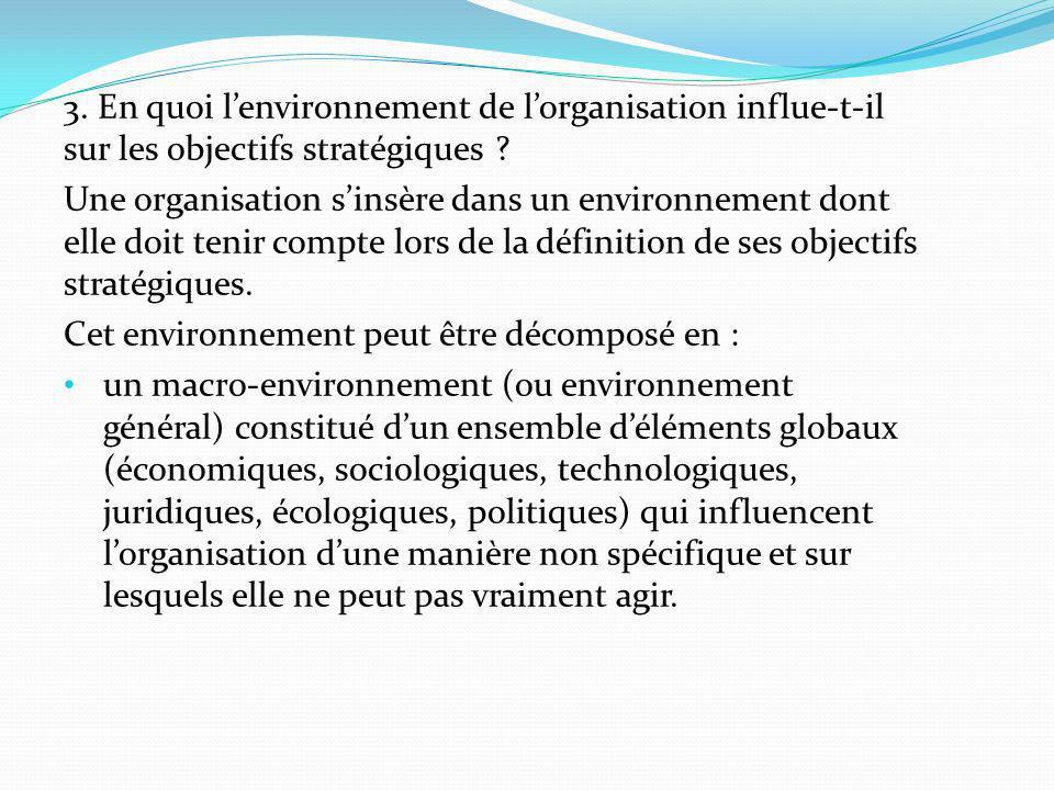 3. En quoi l'environnement de l'organisation influe-t-il sur les objectifs stratégiques