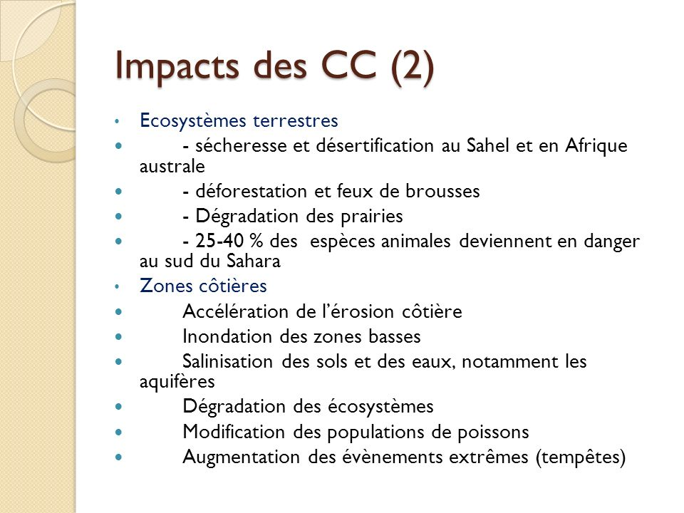 Impacts des CC (2) Ecosystèmes terrestres