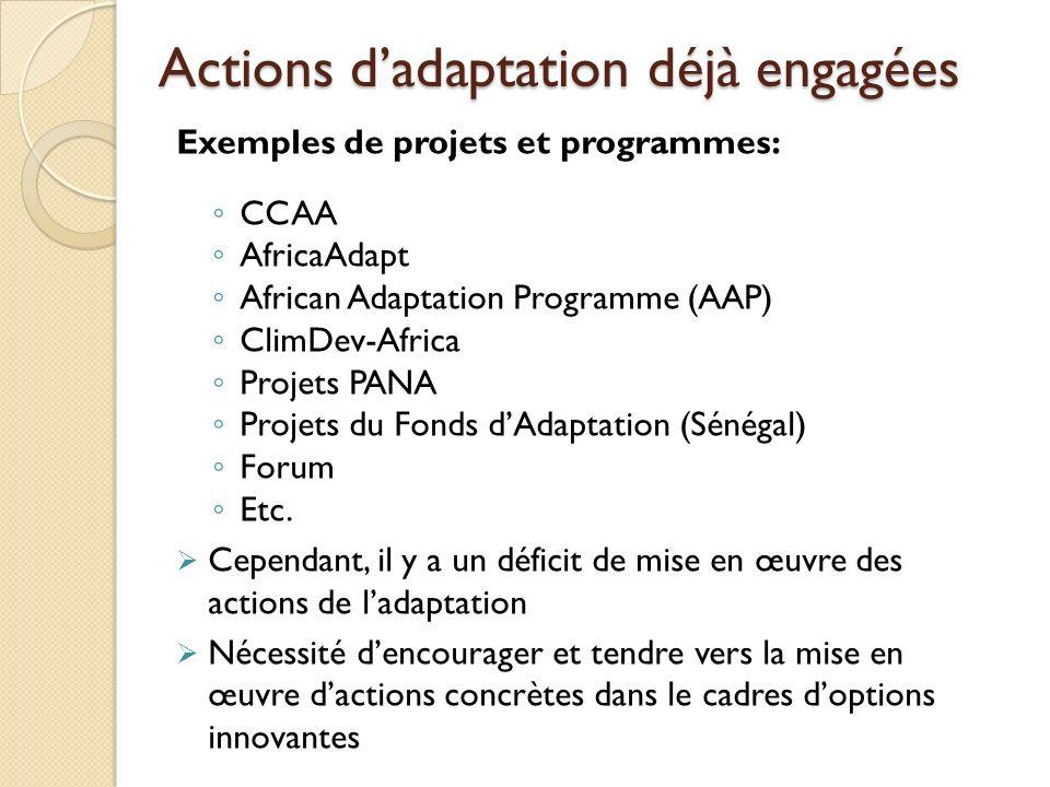 Actions d'adaptation déjà engagées