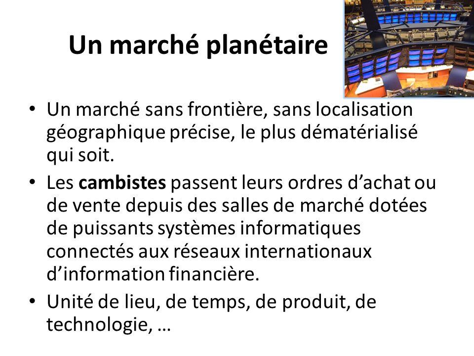 Un marché planétaire Un marché sans frontière, sans localisation géographique précise, le plus dématérialisé qui soit.