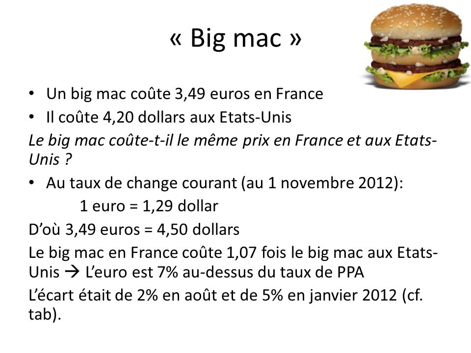 « Big mac » Un big mac coûte 3,49 euros en France