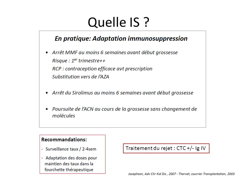 Quelle IS Traitement du rejet : CTC +/- Ig IV