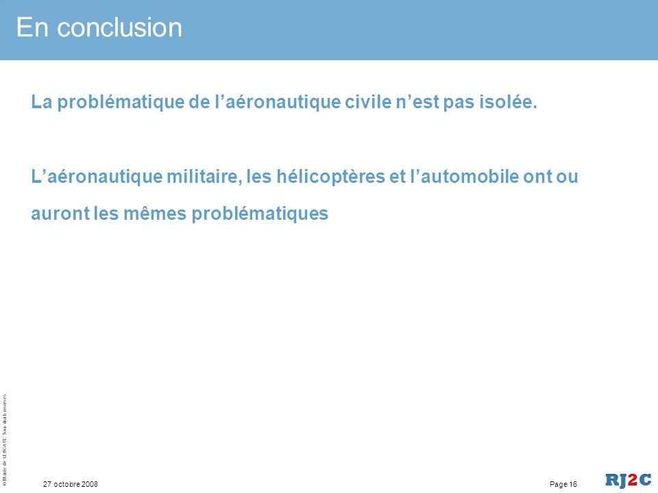 En conclusion La problématique de l'aéronautique civile n'est pas isolée.