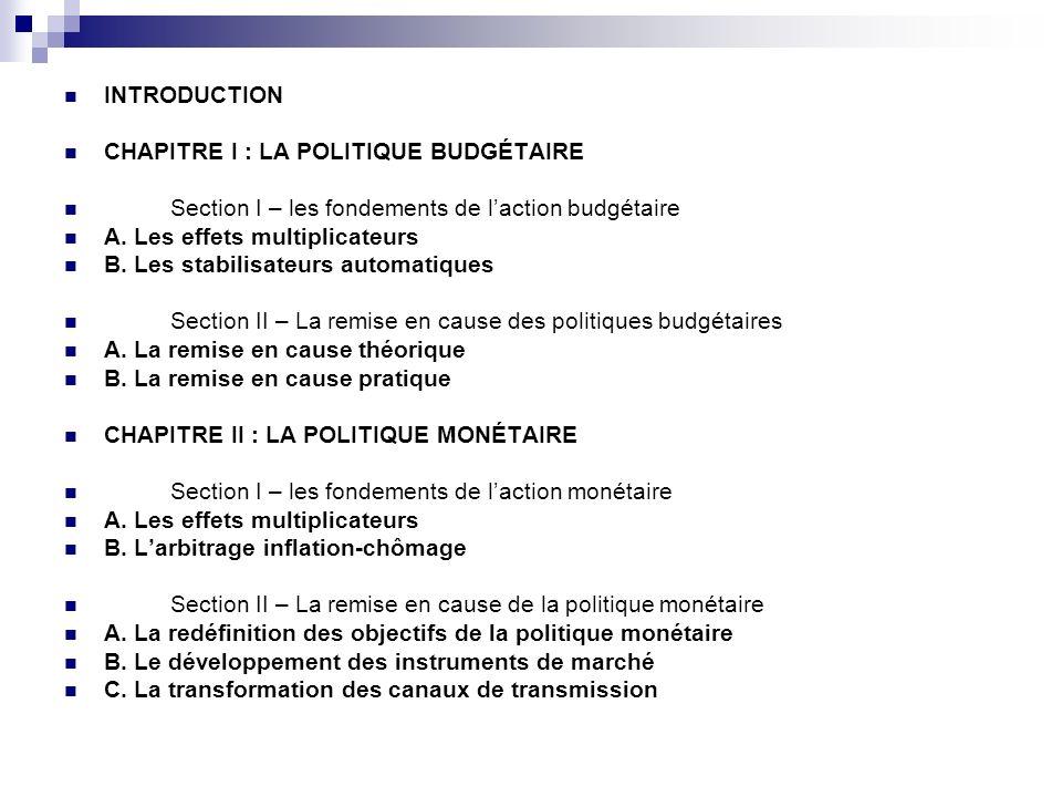 INTRODUCTION CHAPITRE I : LA POLITIQUE BUDGÉTAIRE. Section I – les fondements de l'action budgétaire.