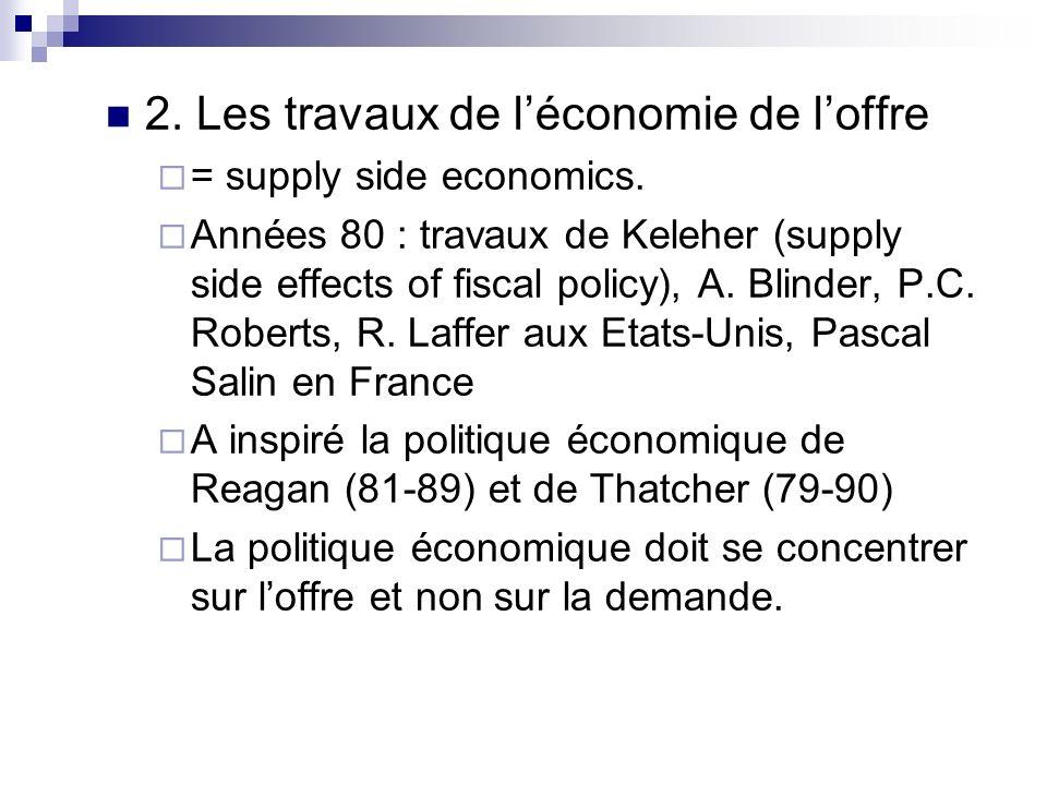 2. Les travaux de l'économie de l'offre