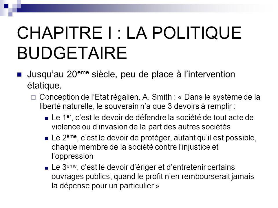 CHAPITRE I : LA POLITIQUE BUDGETAIRE